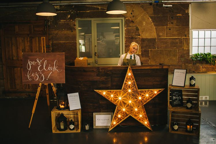 Bar | Wooden Crates | Wedding Decor | Giant Light Up Star | S6 Photography
