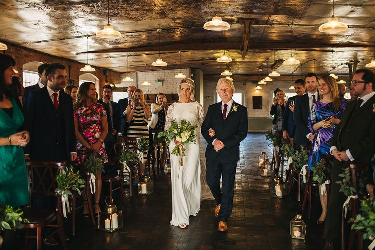 Bride in Charlie Brear Torum Dress & Adrianna Lace Jacket | Industrial Wedding Ceremony at The West Mill | S6 Photography