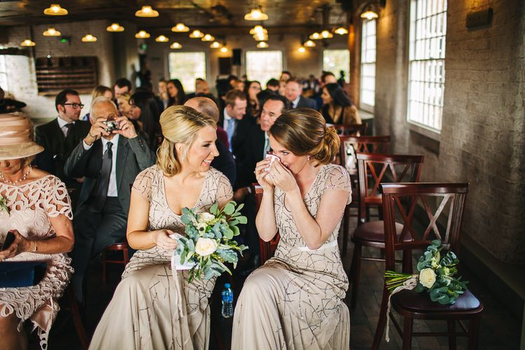 Bridesmaids in Sequin Adrianna Papell Dresses | Industrial Wedding Ceremony at The West Mill | S6 Photography
