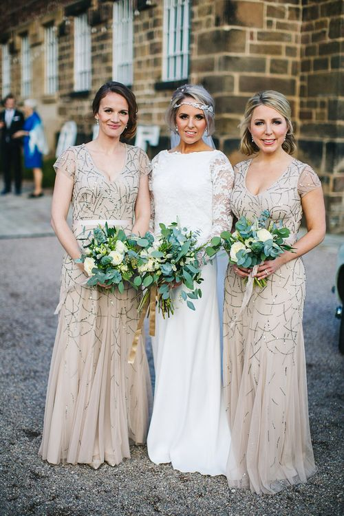 Bride in Charlie Brear Torum Dress & Adrianna Lace Jacket | Bridesmaids in Sequin Adrianna Papell Dresses | S6 Photography