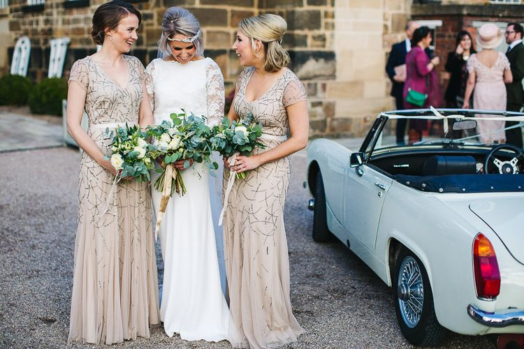 Bride in Charlie Brear | Bridesmaids in Sequin Adrianna Papell Dresses | 1970 MG Midget Wedding Car | S6 Photography