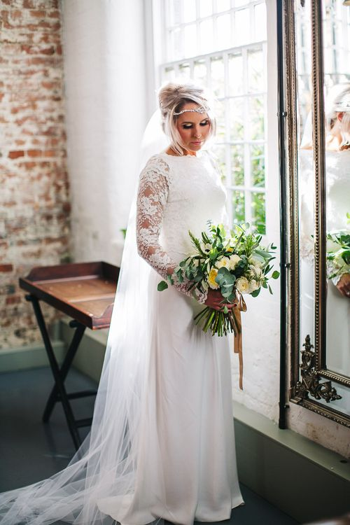 Bride in Charlie Brear Torum Dress & Adrianna Lace Jacket | S6 Photography