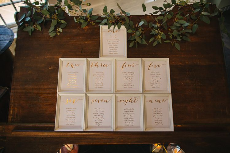 Gold Foil Wedding Stationery | Table Plan | S6 Photography