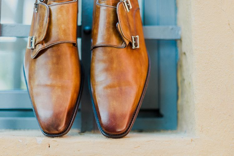 Grooms Shoes | Intimate Destination, Family Wedding Planned by The Knot in Italy Weddings at Castello Il Palagio , Italy | Linda Nari Photography