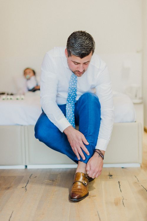 Groom in Light Blue Suit | Intimate Destination, Family Wedding Planned by The Knot in Italy Weddings at Castello Il Palagio , Italy | Linda Nari Photography