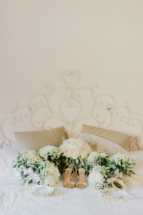 Wedding Bouquets & Bridal Shoes | Intimate Destination, Family Wedding Planned by The Knot in Italy Weddings at Castello Il Palagio , Italy | Linda Nari Photography