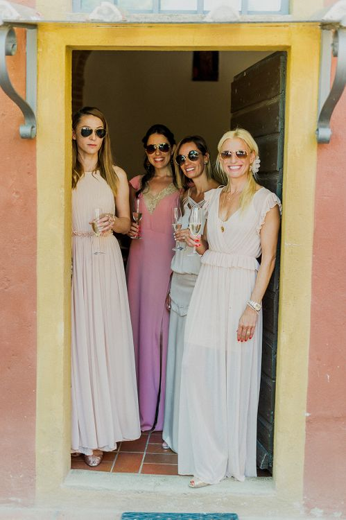 Bridesmaids in Different Blush Dresses | Intimate Destination, Family Wedding Planned by The Knot in Italy Weddings at Castello Il Palagio , Italy | Linda Nari Photography