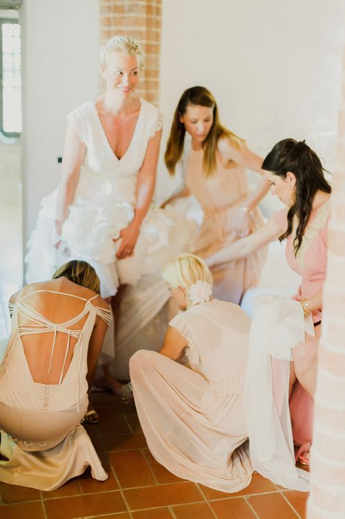 Bridal Preparations | Intimate Destination, Family Wedding Planned by The Knot in Italy Weddings at Castello Il Palagio , Italy | Linda Nari Photography