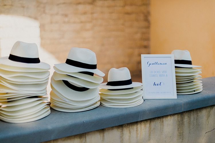 Panama Hats | Intimate Destination, Family Wedding Planned by The Knot in Italy Weddings at Castello Il Palagio , Italy | Linda Nari Photography