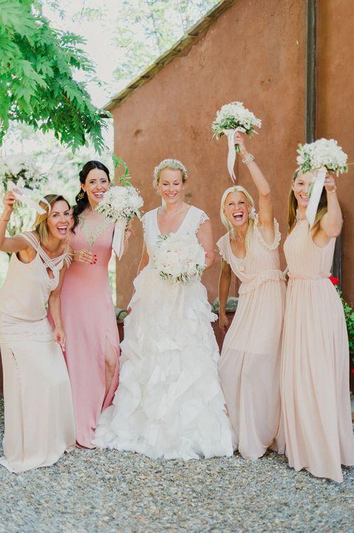 Bridesmaids in Different Blush Dresses | Bride in Monique L'Huillier Skirt, Bridal Separates | Linda Nari Photography
