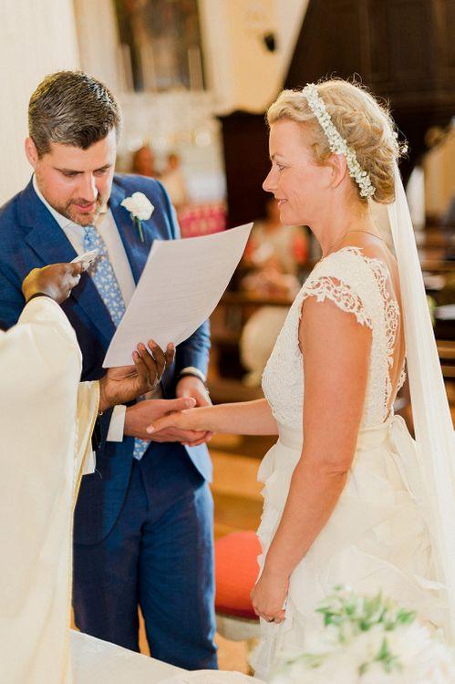 Wedding Ceremony | Bride in Monique L'Huillier Skirt, Bridal Separates | Groom in Light Blue Baldessarini Suit | Linda Nari Photography