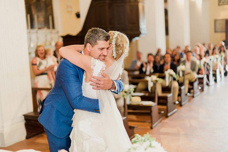 Wedding Ceremony | Bride in Monique L'Huillier Skirt, Bridal Separates Groom in Light Blue Baldessarini Suit | Linda Nari Photography