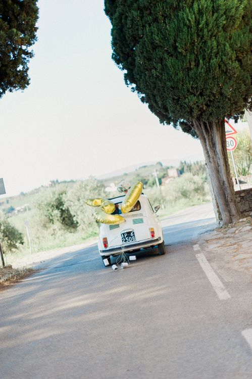 Wedding Car | Intimate Destination, Family Wedding Planned by The Knot in Italy Weddings at Castello Il Palagio , Italy | Linda Nari Photography