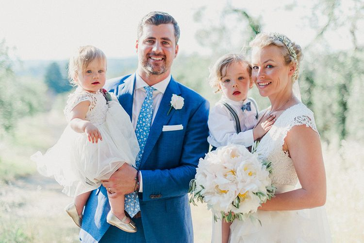 Family | Bride in Monique L'Huillier Skirt, Bridal Separates | Groom in Light Blue Baldessarini Suit | Linda Nari Photography