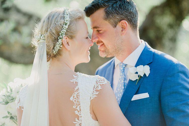 Bride in Monique L'Huillier Skirt, Bridal Separates Groom in Light Blue Baldessarini Suit | Linda Nari Photography