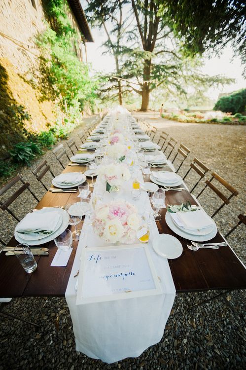 Table Scape | Intimate Destination, Family Wedding Planned by The Knot in Italy Weddings at Castello Il Palagio , Italy | Linda Nari Photography