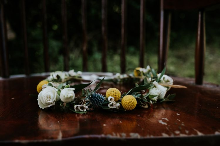 Yellow & White Flower Crown | Chic Rustic French Wedding at Le Morimont Styled by Féelicité | Photography by Chloe