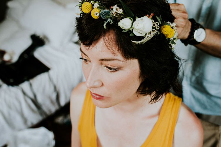 Beautiful Bride in Yellow Flower Crown | Chic Rustic French Wedding at Le Morimont Styled by Féelicité | Photography by Chloe