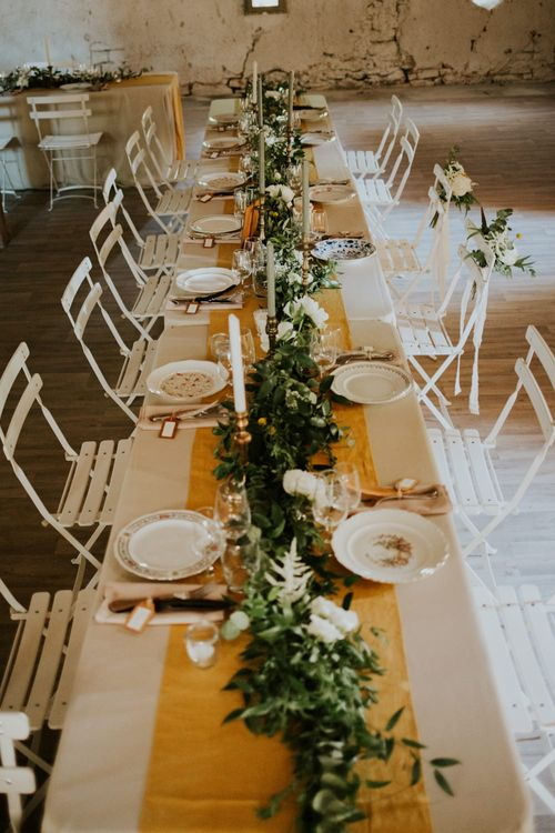 Greenery Table Runner | Chic Rustic French Wedding at Le Morimont Styled by Féelicité | Photography by Chloe