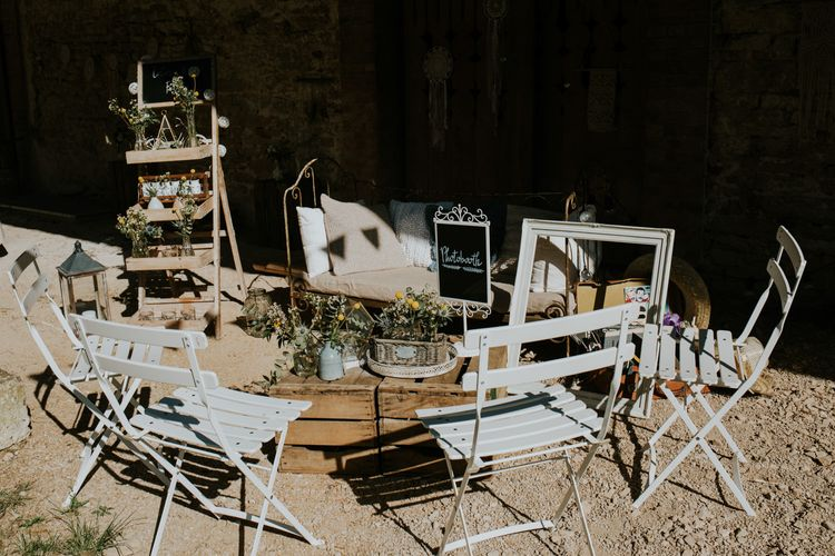 Photo Booth Station | Chic Rustic French Wedding at Le Morimont Styled by Féelicité | Photography by Chloe