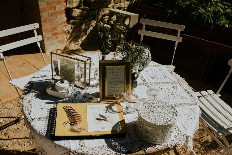 Guest Book Station | Chic Rustic French Wedding at Le Morimont Styled by Féelicité | Photography by Chloe