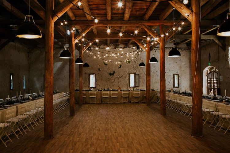 Festoon Light Dance Floor | Chic Rustic French Wedding at Le Morimont Styled by Féelicité | Photography by Chloe