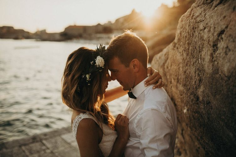 Golden Hour | Bride in Rime Arodaky | Groom in Hugo Boss | Destination Croatia Wedding | Jere Satamo Photography