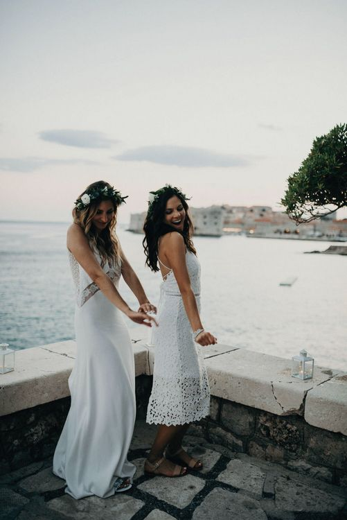 Bride in Rime Arodaky | Bridesmaid in White Lace Gown | Destination Croatia Wedding | Jere Satamo Photography