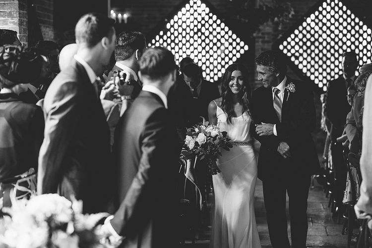 Shustoke Farm Barn Wedding Ceremony | Bride in Martina Liana Bridal Gown from Coco and Kate | Groom in Reiss Bespoke Tailoring Suit | Alex Tenters Photography