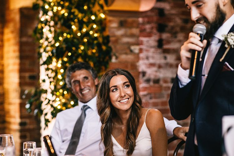 Shustoke Farm Barn Wedding Reception Speeches | Bride in Martina Liana Bridal Gown from Coco and Kate | Alex Tenters Photography