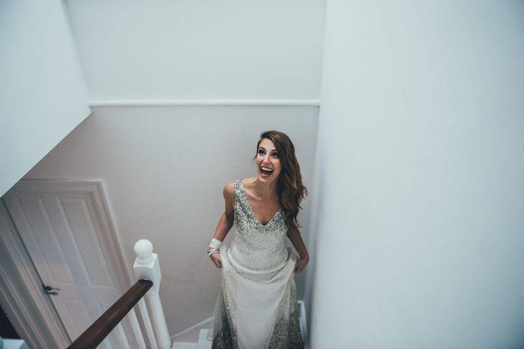 First Look | Bride in Sparkly Houghton Wedding Dress