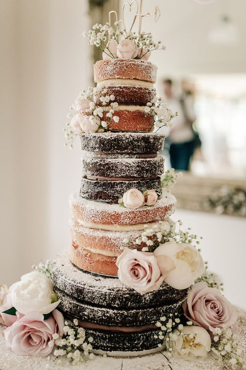Naked Wedding Cake With Fresh Flowers // Elegant Wedding At Wasing Park With Bride In Embellished Temperley Bridal Gown With Fine Art Images From Grace And Blush Film By Mrs Mashup