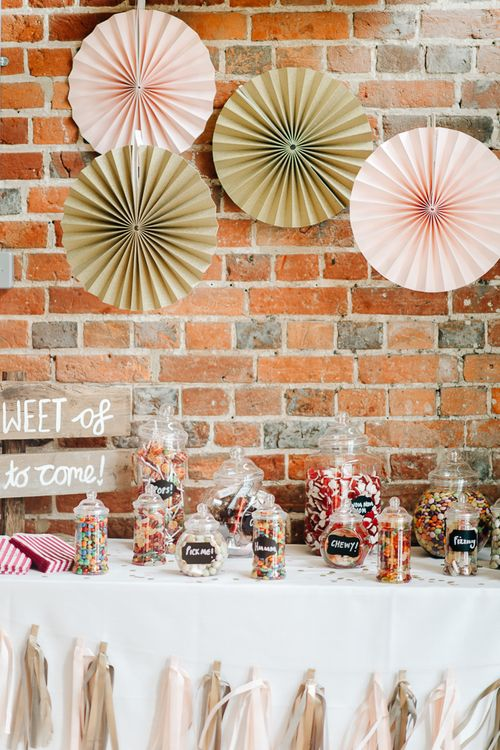 DIY Sweetie Bar At Wedding // Elegant Wedding At Wasing Park With Bride In Embellished Temperley Bridal Gown With Fine Art Images From Grace And Blush Film By Mrs Mashup