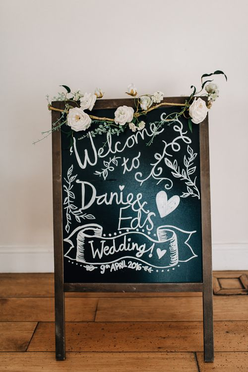 Chalkboard Welcome Sign For Wedding // Elegant Wedding At Wasing Park With Bride In Embellished Temperley Bridal Gown With Fine Art Images From Grace And Blush Film By Mrs Mashup