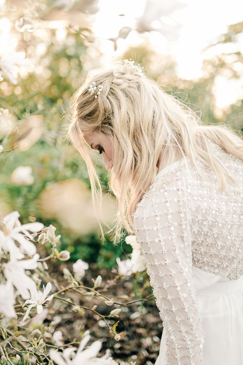 Loose Waves With Gypsophila For Bride // Elegant Wedding At Wasing Park With Bride In Embellished Temperley Bridal Gown With Fine Art Images From Grace And Blush Film By Mrs Mashup