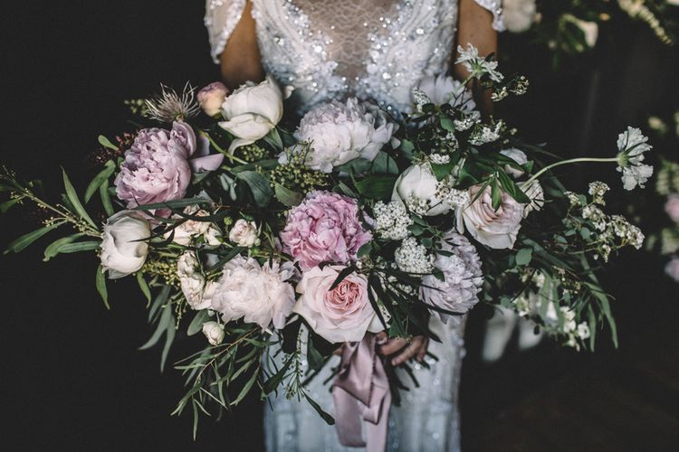 Peony Wedding Bouquet | Dark Hues For An Intimate Wedding Inspiration Shoot At The Green Man Winchester With Stationery By Geri Loves Emi And Images From Carrie Lavers Photography