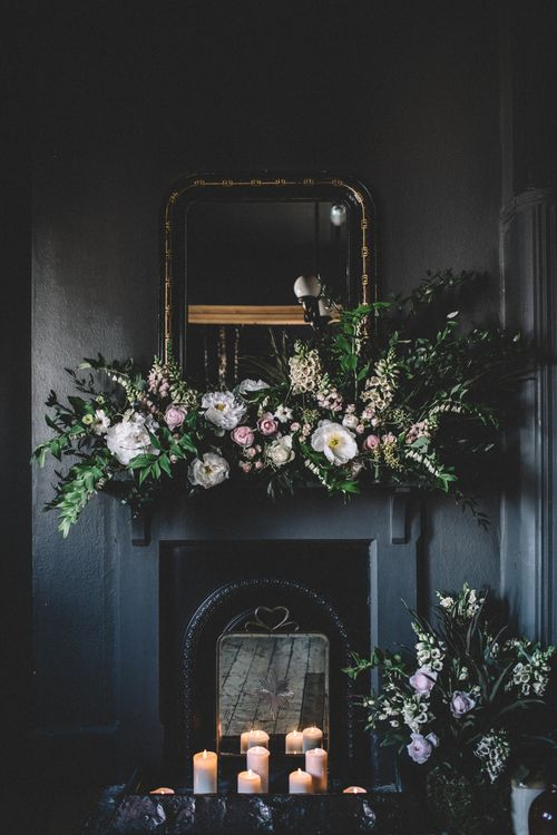 Floral Installation | Dark Hues For An Intimate Wedding Inspiration Shoot At The Green Man Winchester With Stationery By Geri Loves Emi And Images From Carrie Lavers Photography