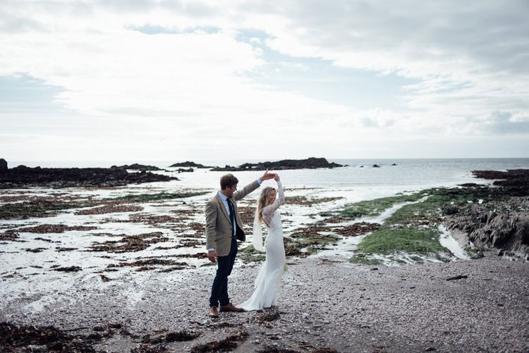 Intimate Beach Elopement In Devon With Bride In Bespoke Dress & Images By Liberty Pearl Photography