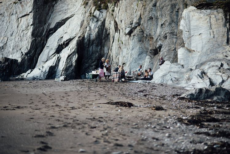 Intimate Beach Elopement In Cornwall With Bride In Bespoke Dress & Images By Liberty Pearl Photography