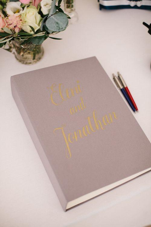 Elegant Grey & Gold Guest Book For Wedding