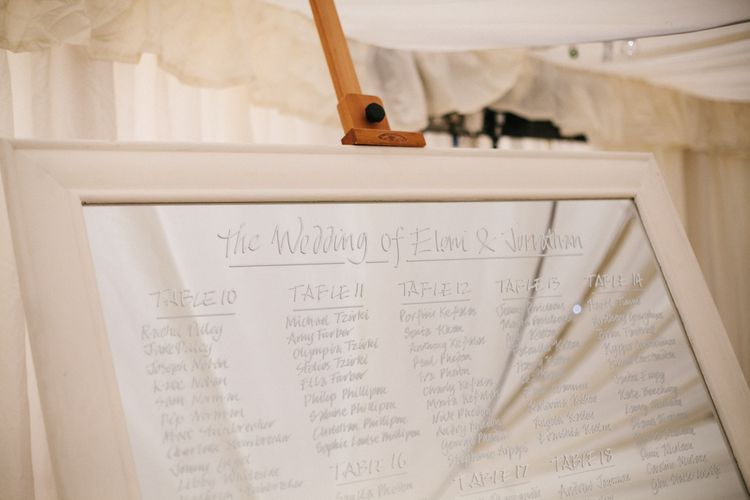 Mirrored Table Plan For Wedding