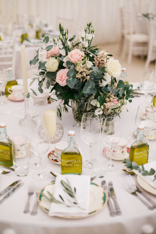 Elegant Table Settings With Pink Roses For A Marquee Wedding