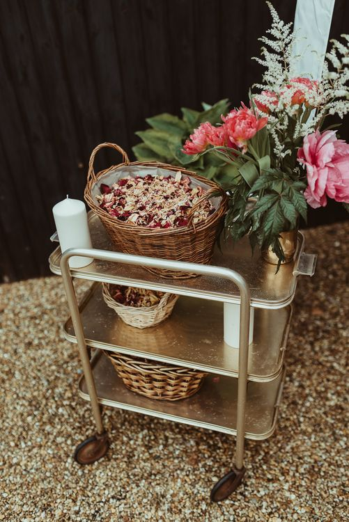 Spray Painted Hostess Trolley | DIY At Home Marquee Reception | Jess Soper Photography