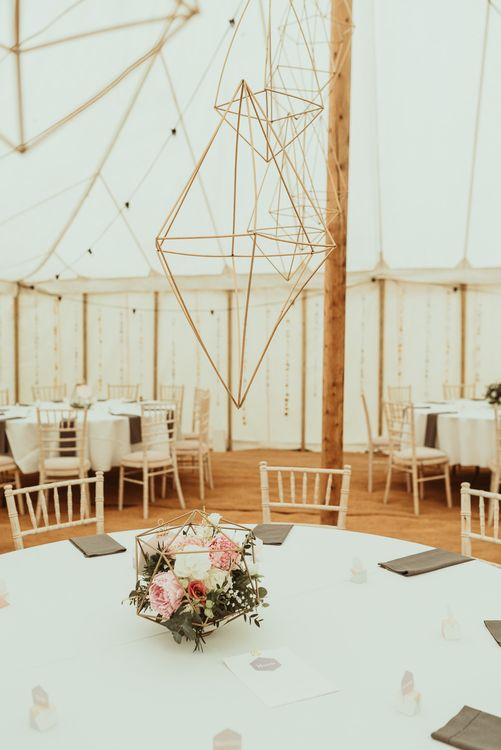 Hanging Geometric Decor | DIY At Home Marquee Reception | Jess Soper Photography