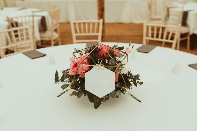 Gold Terrarium with Pink Flowers | DIY At Home Marquee Reception | Jess Soper Photography