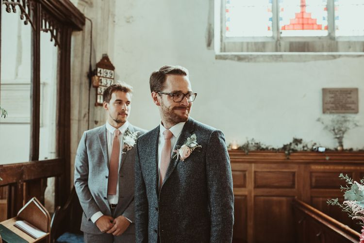 Groom in Wool Reiss Suit at the Church Altar | DIY At Home Marquee Reception | Jess Soper Photography