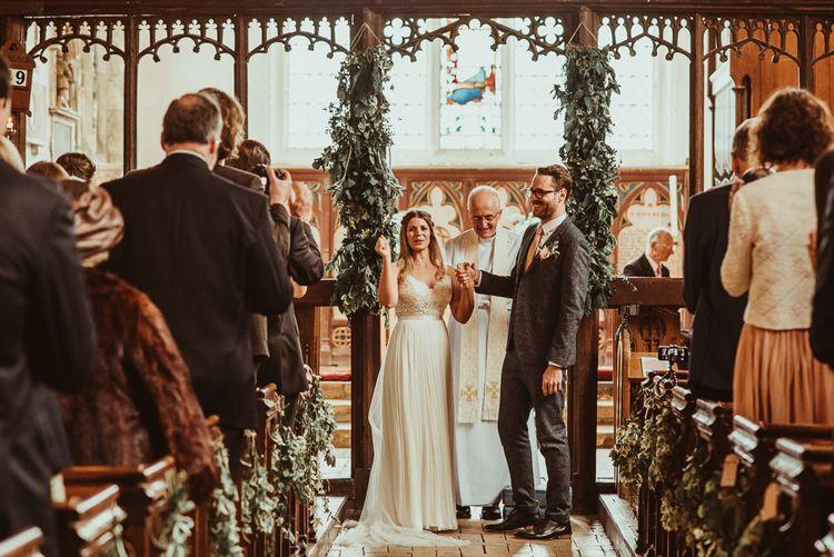 Church Ceremony | Bride in Catherine Deane Bridal Separates, Havanna Corset & Anika Skirt | Groom in Reiss Suit | Jess Soper Photography