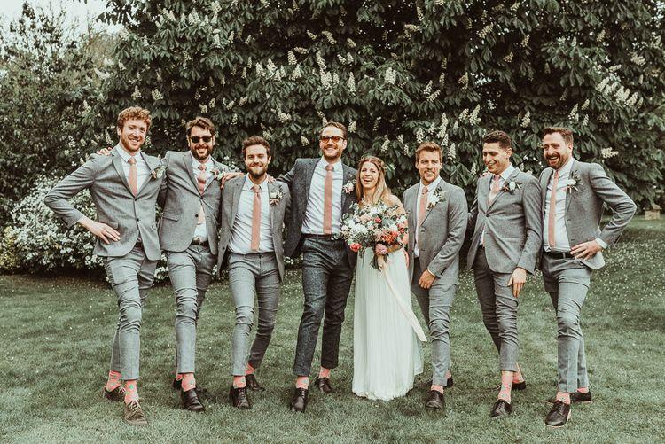 Bride, Groom & Groomsmen | DIY At Home Marquee Reception | Jess Soper Photography