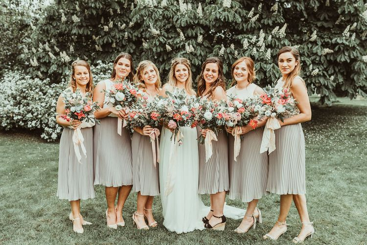 Bride in Catherine Deane Separates | Bridesmaids in Pleated TFNC Skirts | DIY At Home Marquee Reception | Jess Soper Photography