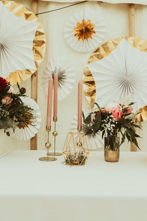 Pink & Gold Wedding Decor | Pin Wheel Backdrop | DIY At Home Marquee Reception | Jess Soper Photography